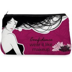 Pink fashionable lady flower Make up Pouch