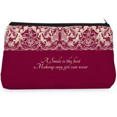 Marron lace smile Make up pouch