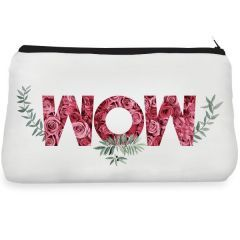 White mom leaf Make up Pouch