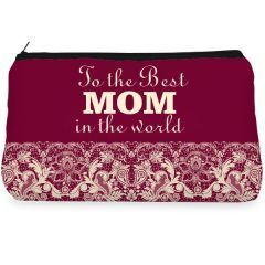 Maroon lace mom Make up Pouch