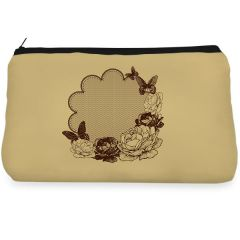 Brown floral and butterfly Make up Pouch