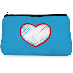 Blue heart love Make up Pouch