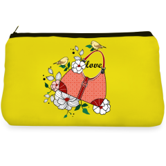 Yellow flower birds Make up Pouch